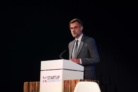 Minister of the Economy Franz Fayot speaking at the launch of the Startup Luxembourg website